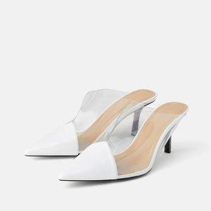 Zara Trafaluc White Vinyl Heeled Mules